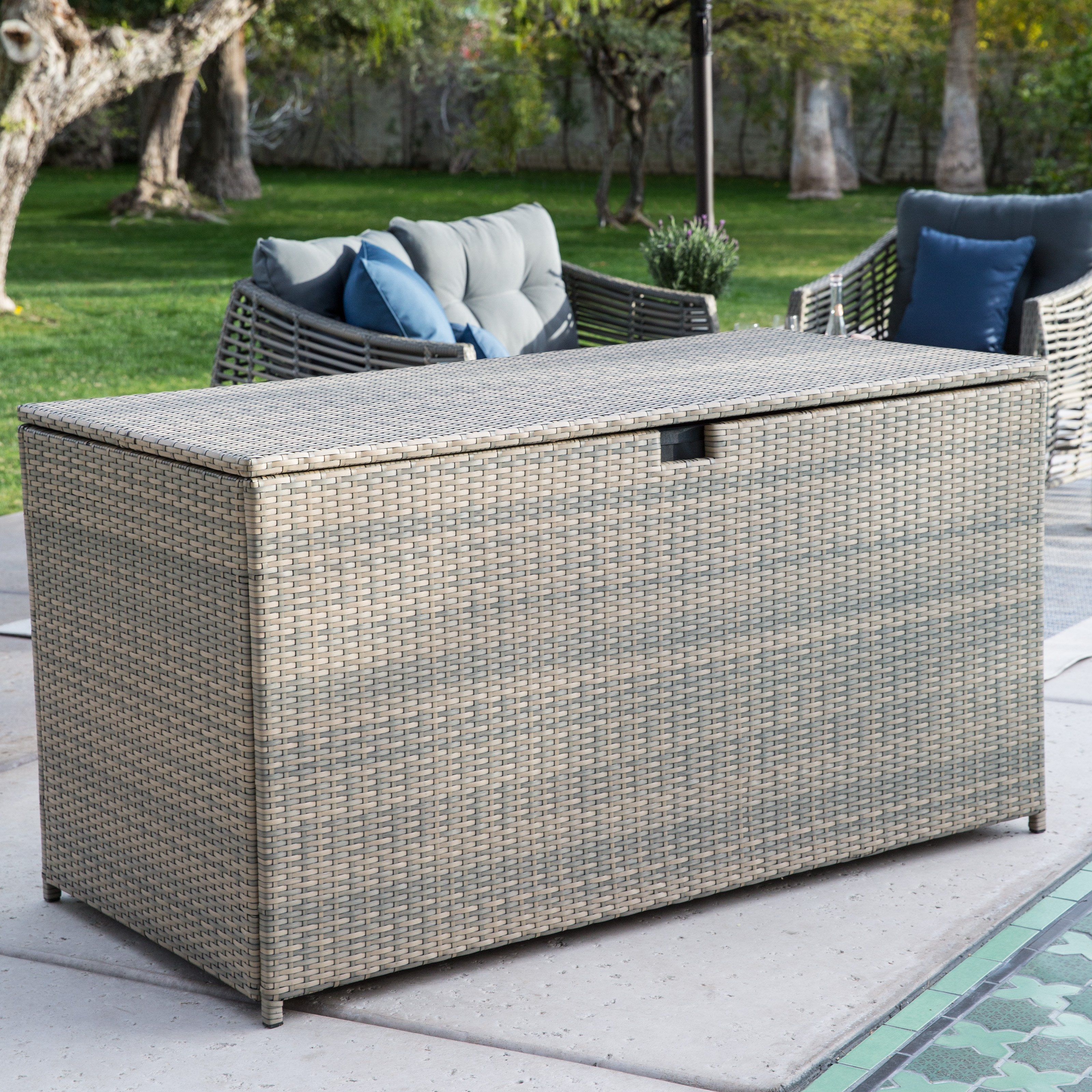 Belham Living Kambree All Weather Wicker 190 Gallon Deck Box   Outdoor  Benches At