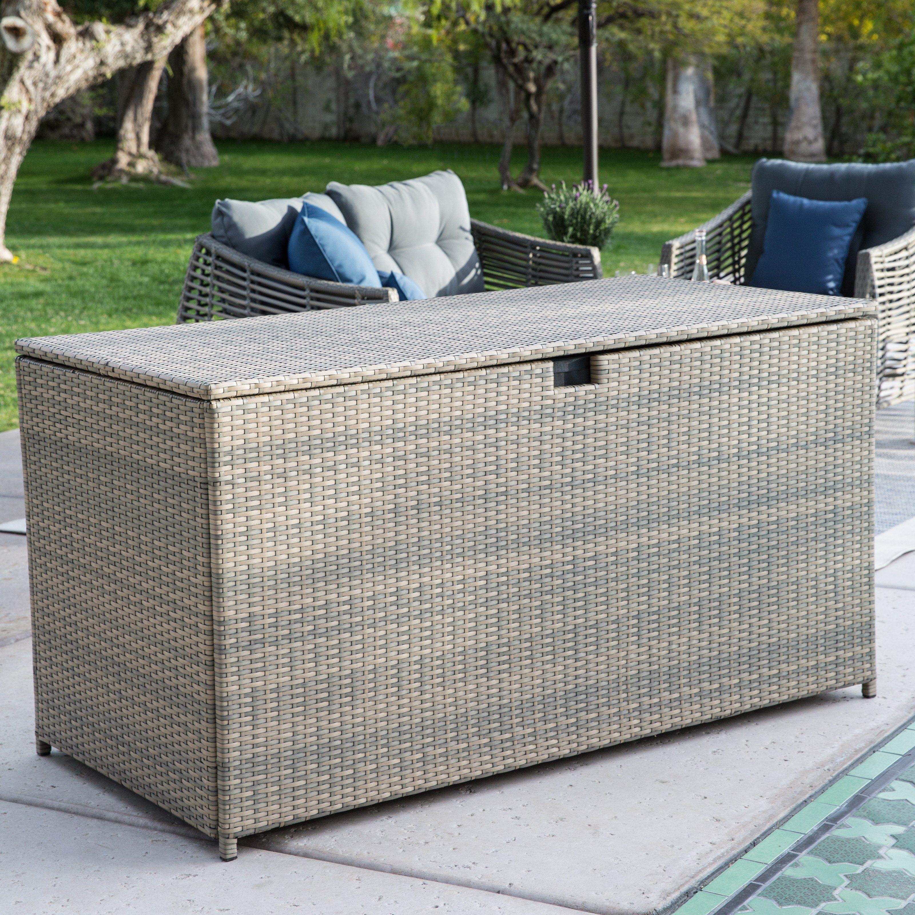 Belham Living Kambree All Weather Wicker 190 Gallon Deck Box Patio Storage Deck Box Storage Wicker Deck Box