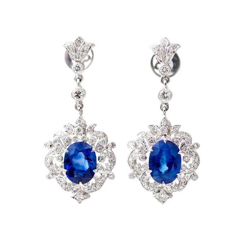 Royal Blue Shire Diamond Gold Dangle Earrings From A Unique Collection Of Vintage