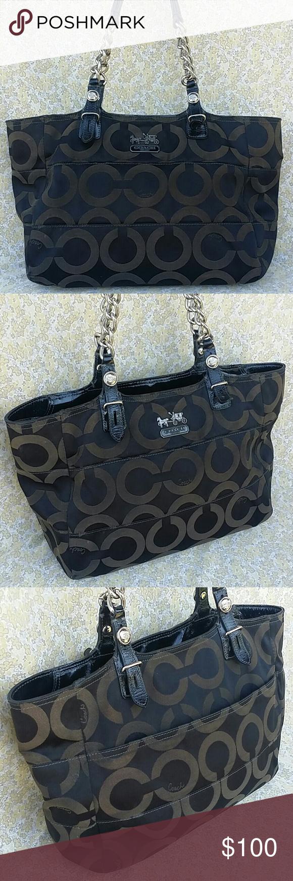 "Coach 14133 Madison Tribeca Opt Art Tote Handbag Coach 14133 Madison Tribeca Opt Art Tote Handbag Measurements 10"" X 12"" X 4"" Coach Bags Totes"