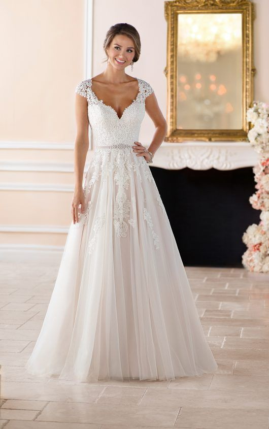 32ed16f9674 6391 Romantic Cap Sleeve Wedding Dress With Cameo Back by Stella York
