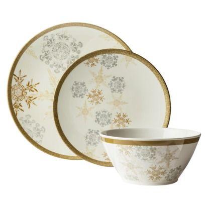 Threshold™ Melamine Snowflake 12 Piece Dinnerware Set ...