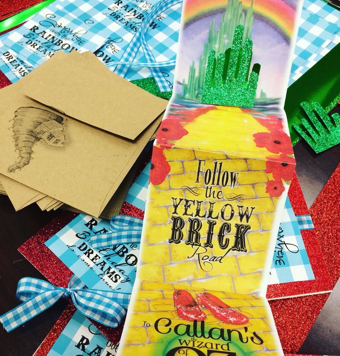 Wizard of OZ birthday party invitations fold out yellow brick road