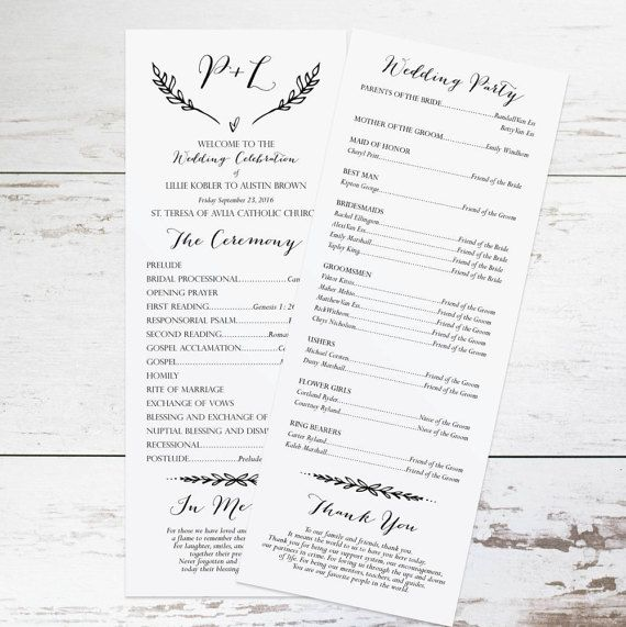 Rustic Wedding Program Template, Rustic Wedding Programs Instant ...
