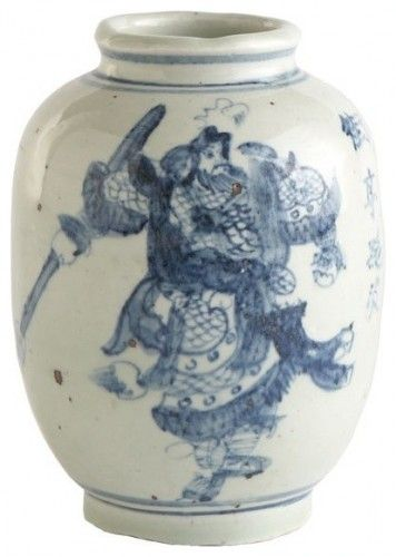 Chinese Door God - Blue and whote porcelain