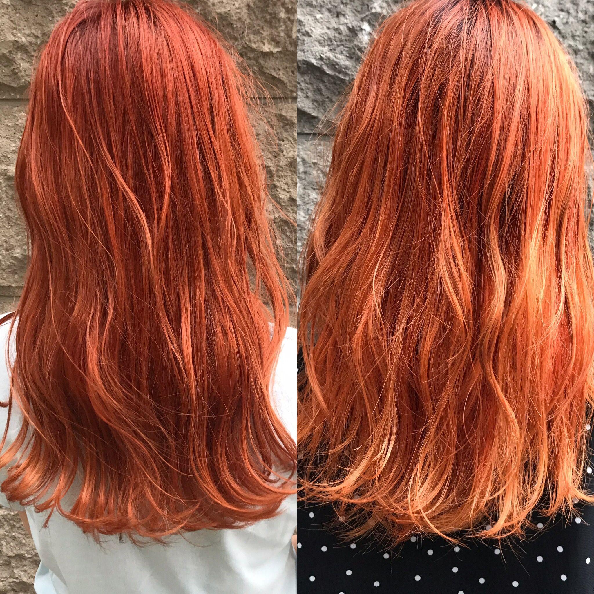 オレンジカラー 髪色 オレンジ オレンジ ヘアカラー ヘアスタイリング
