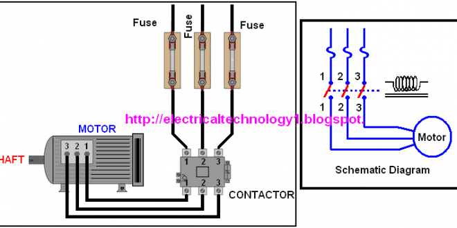 A Simple Circuit Diagram Of Contactor With Three Phase Motor Circuit Diagram Simple Circuit Circuit