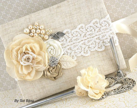linen guest book and pen set shabby chic vintage by solbijou rh pinterest com shabby chic guest book wedding shabby chic baby shower guest book