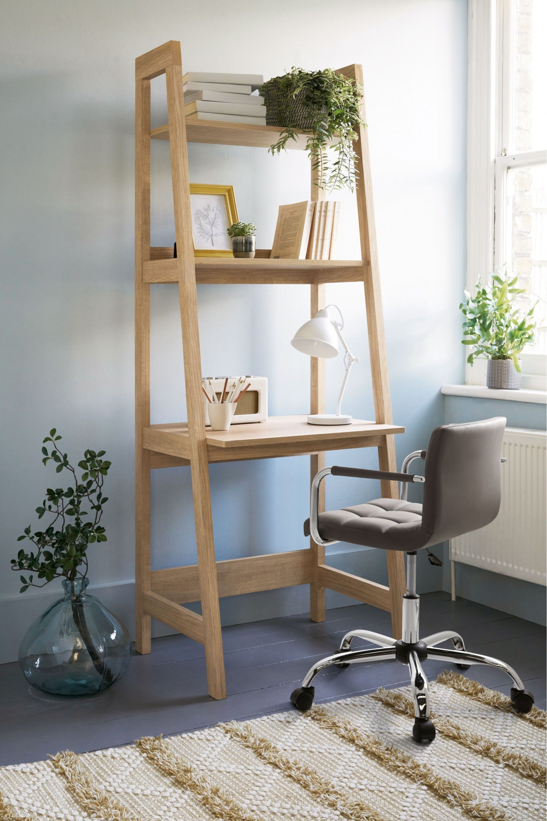 Next Malvern Ladder Desk Natural In 2020 Ladder Desk Bookcase Desk Ladder Bookcase