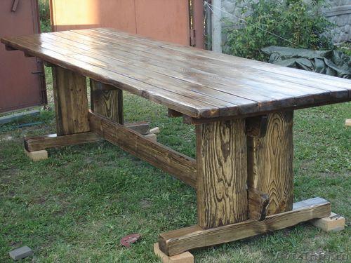 Стол и скамейки из дерева своими руками фото 159