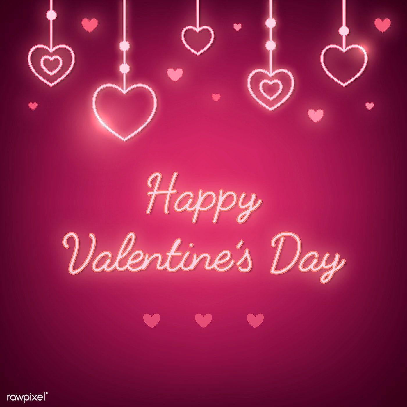 Neon Light Happy Valentine's Day On Pink Background