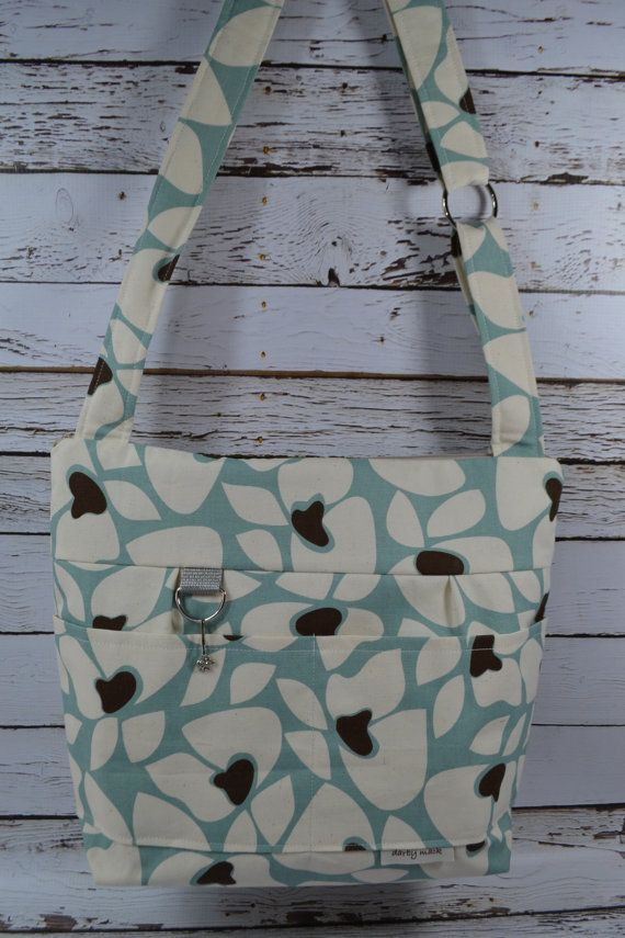 DSLR Camera Purse & Tote bag, linen in Light blue Flowers / waterproof canvas, womens purse / made in America by Darby Mack, in stock #camerapurse