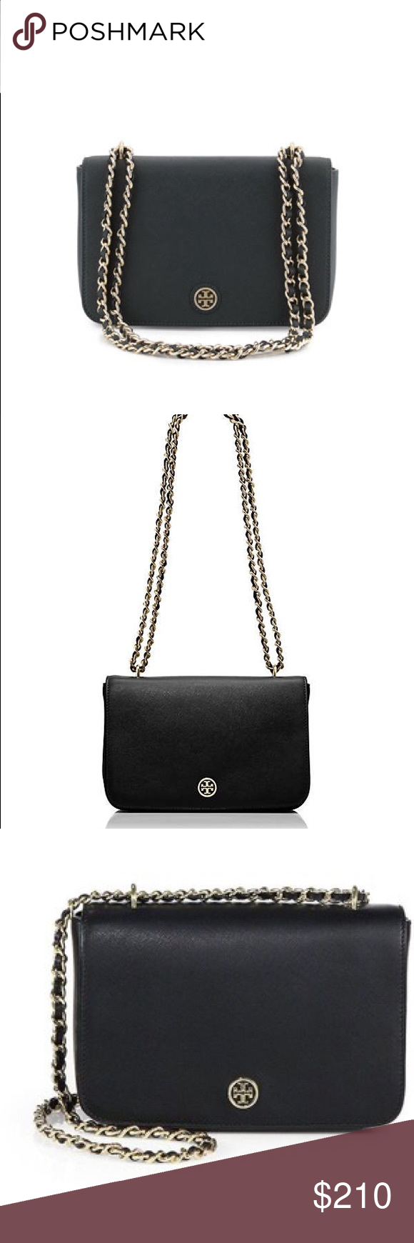 Tory Burch Robinson adjustable shoulder bag 100% authentic guaranteed!  Tory Burch Robinson adjustable shoulder bag.  The epitome of understated chic,  new Robinson adjustable shoulder bag is made of high quality, scratch resistent leather.  The chain strap is convertible so it can be worn doubled over the shoulder or long cross-body,  perfect for days on the go.  Perfect condition! Tory Burch Bags Crossbody Bags