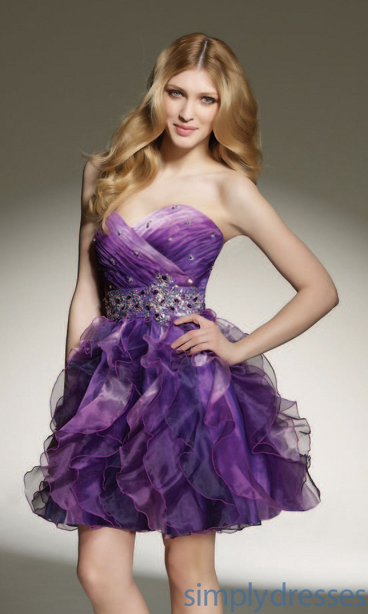 Short Strapless Ombre Homecoming Dress ML-9135 | Homecoming | Pinterest