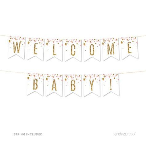 Free Printable Gold Banner Includes Entire Alphabet Baby Shower Banner Girl Baby Shower Banner Girl Printable Baby Shower Banner Diy