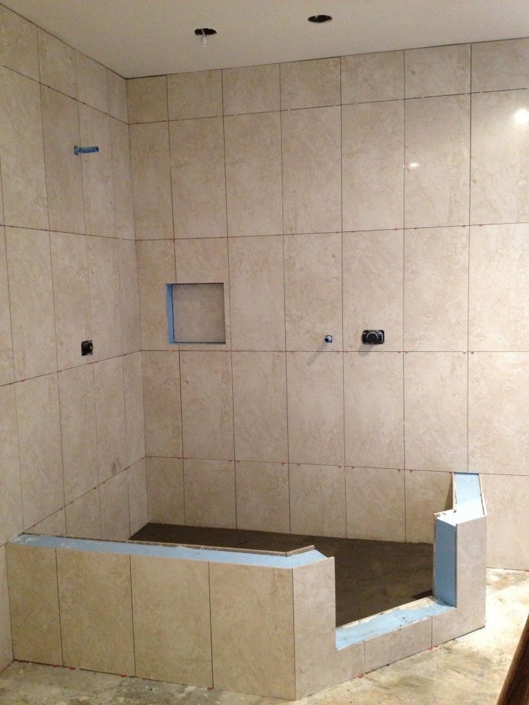 Vertical shower tile in a straight lay powder rooms pinterest vertical shower tile bath Bathroom tile stores
