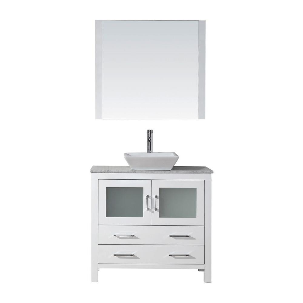 Virtu Usa Dior 31 In W Bath Vanity In White With Marble Vanity