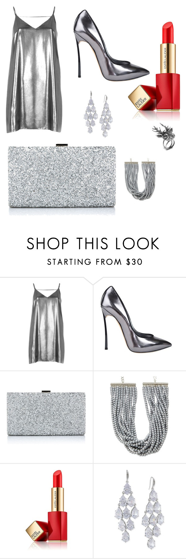 """Silver"" by giulia-nascimben ❤ liked on Polyvore featuring River Island, Casadei, Kenneth Jay Lane, Estée Lauder, Carolee and Mulberry"