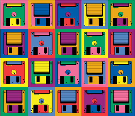 Colorful Fabrics Digitally Printed By Spoonflower Floppy Floppy Disk In 2021 Floppy Disk 90s Graphic Design Graphic Design Layouts
