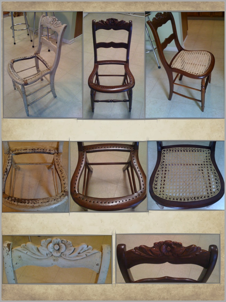 Before & After: Refurbished antique cane bottom chair - These Remind Me Of The Cane Bottom Chairs Otto Goben Refurbished In