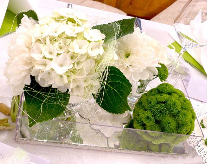 Hochzeitsdeko tischdeko in gr n weiss mit gr ner blumenkugel aus santini hochzeit - Tischdekoration goldene hochzeit ...