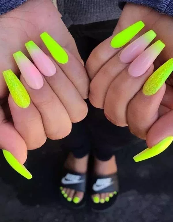 52 Best Neon Nail Designs That Are Perfect For Summer 2019 24 Welcome French Tip Nail Designs Ombre Acrylic Nails Pretty Acrylic Nails