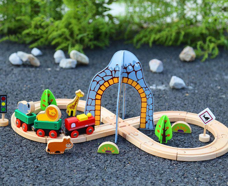 sale montessori kids toy wood round train slot set animal