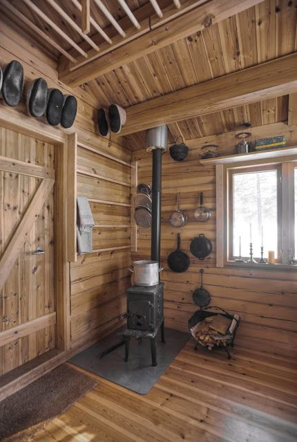 Wood Stove Drying Rack In Tiny Cabin Norway