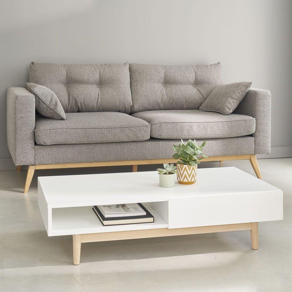 Table Basse Style Scandinave 2 Tiroirs Blanche Gray Sofa Sofa