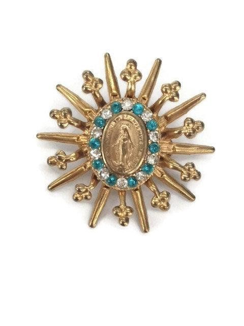 Attractive Religious Brooch Pin Blue Virgin Mary Brooch Rhinestone Sunburst Lapel Pin  Miraculous Medal Jewelry