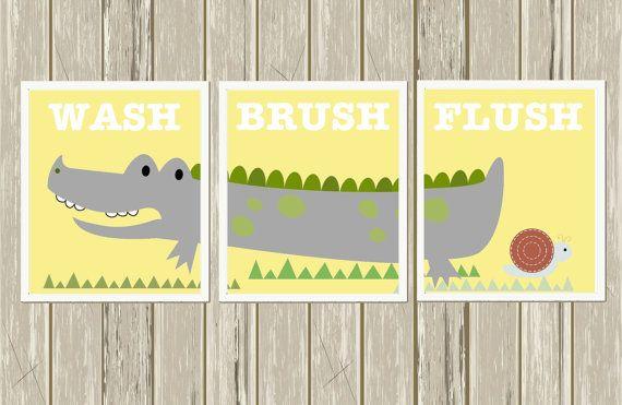 Alligator Bathroom, Kids Bathroom Art, Bathroom Decor, Boys Wall Art,  Crocodile Art