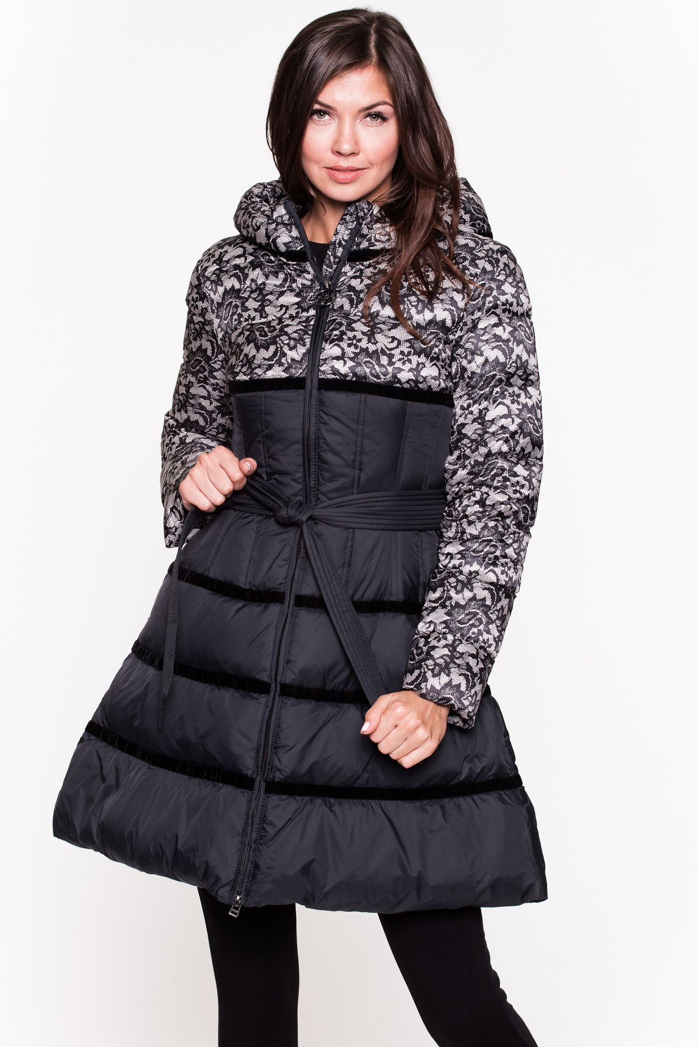 Feminine down jacket ODRI MIO black with unusual lace. The model ...
