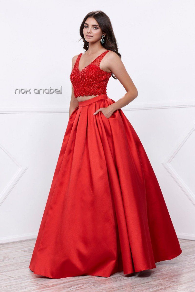 N twopiece lace beaded halter satin ball gown skirt with