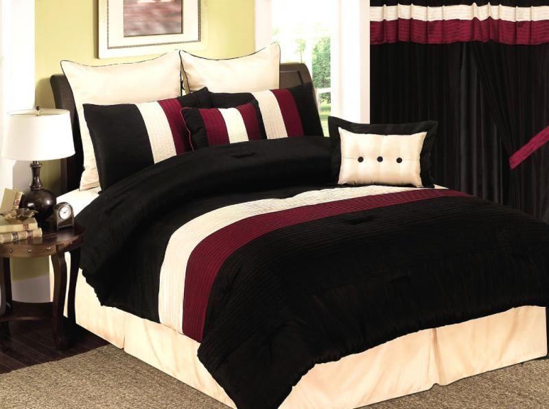 burgundy and black velvet comforter bed set | Details about 8 Pcs Burgundy/ Black /