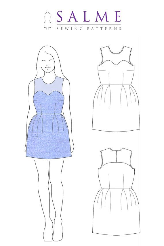 Yoke Dress PDF Sewing pattern by Salmepatterns on Etsy, $8.00 | DIY ...