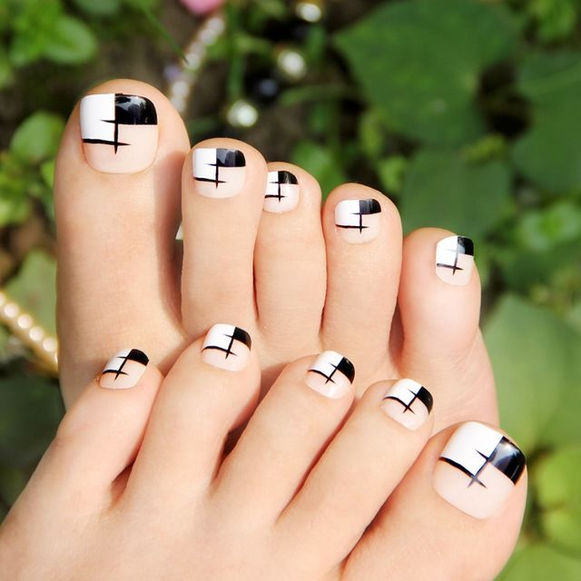 Elegante negro blanco rejilla falso toe nail art display, dedo del ...