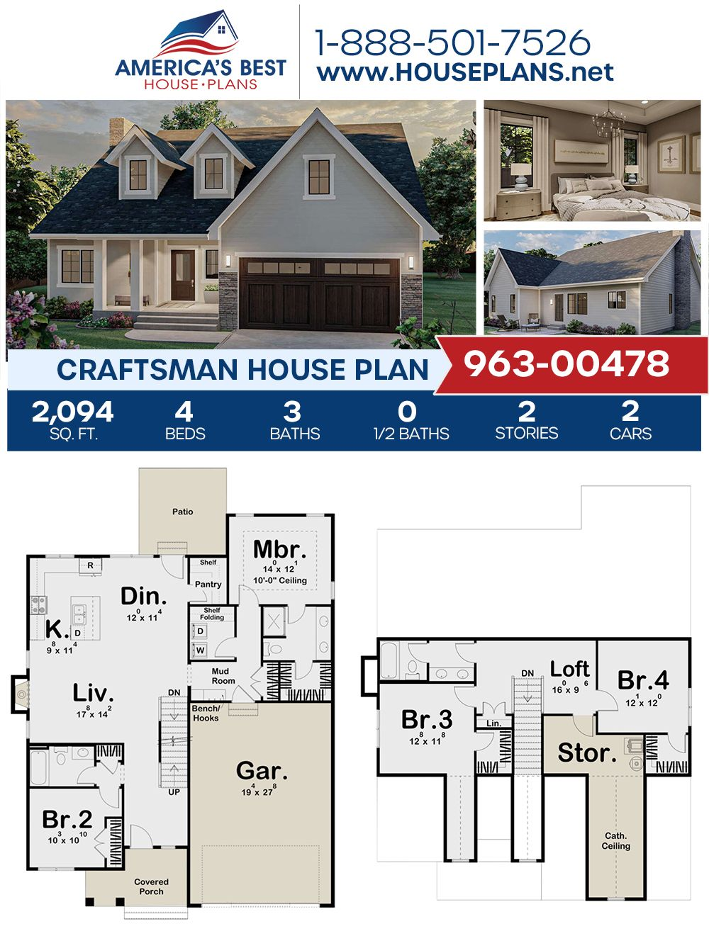House Plan 963 00478 Craftsman Plan 2 094 Square Feet 4 Bedrooms 3 Bathrooms In 2020 House Plans Craftsman House Plans Craftsman House
