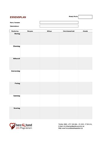 Essenplan Pflegedokumentation Pflegedokumentation Dokumentation Pflege