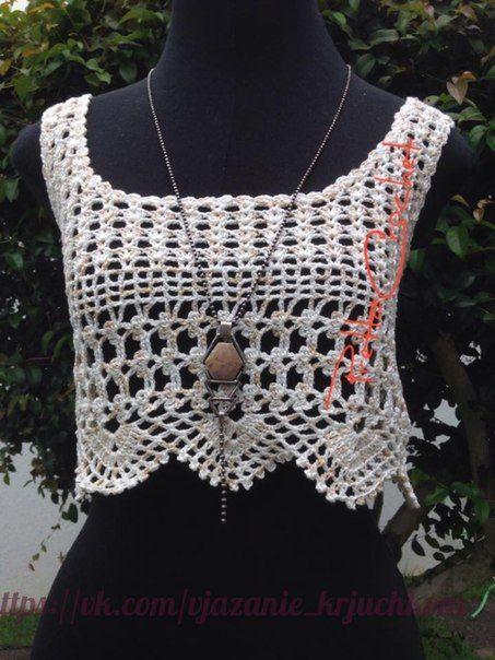 Delicadezas en crochet Gabriela: Top con puntilla decorativa