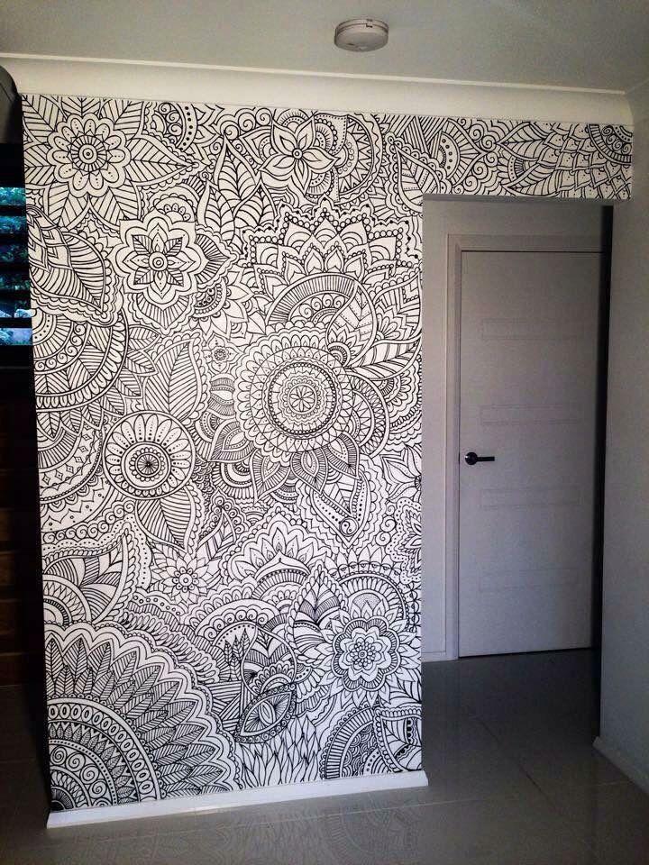 Mehndi Flower Wall : Henna flower wall design new room decor pinterest