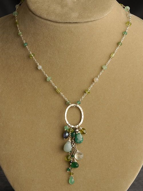 4260ee7f06e01 Peridot, Chrysoprase, Green Onyx, Amazonite and Pearl Pendant ...