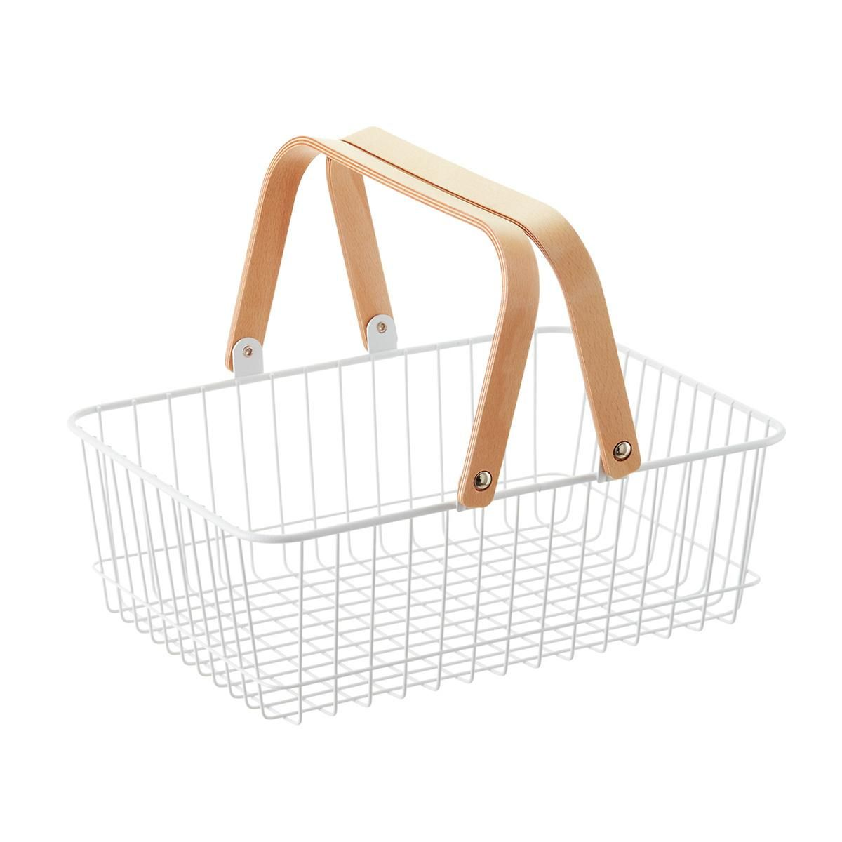 White Wire Basket with Wooden Handles | Wire basket and Container store