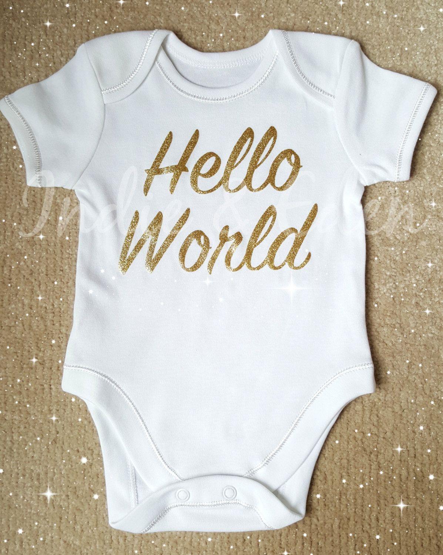 8149f1cd0 Gold Hello World Baby Newborn Vest Baby Grow Babygrow Personalised ...