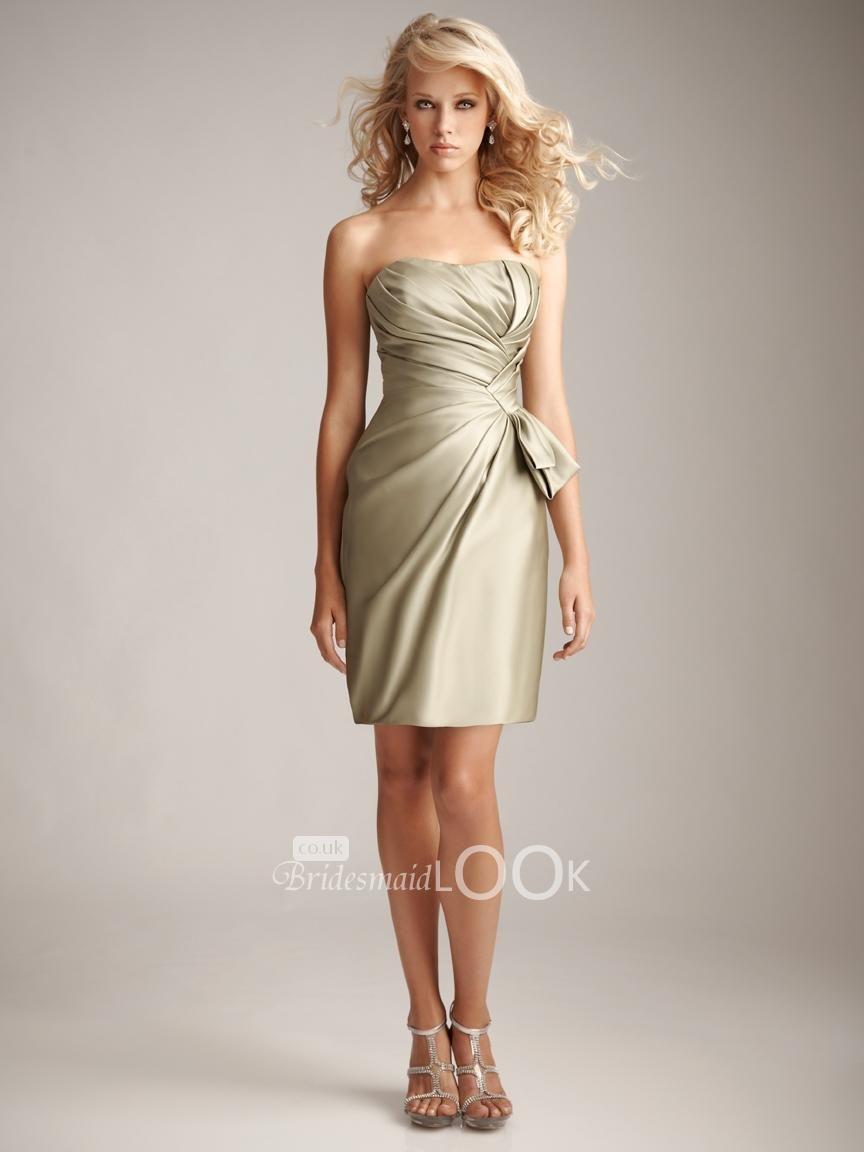 short strapless bridesmaid dress