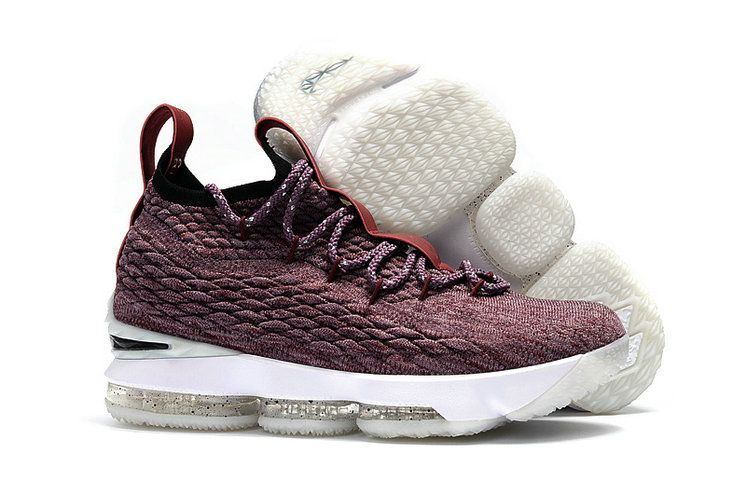 f6116ca13841 2018 New Style Nike LeBron 15 Mens Original Basketball Shoes Sneakers Wine Red  Black White