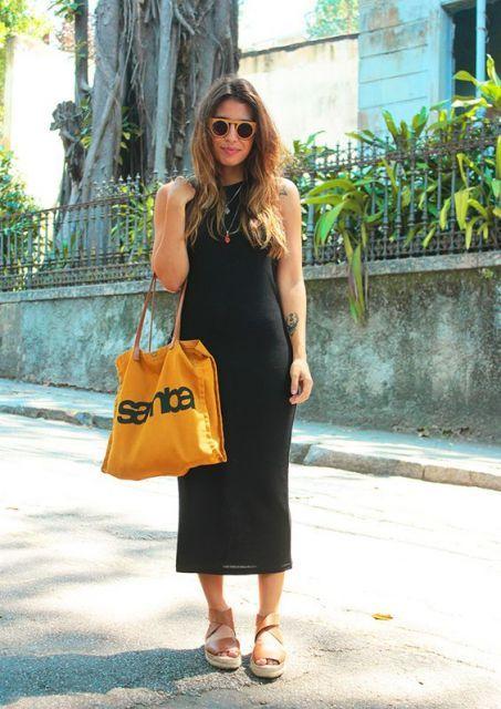 Vestido midi justo preto ou P B - usar com casaco vestido ou amarrado na  cintura disfarçando 836e5198eaf