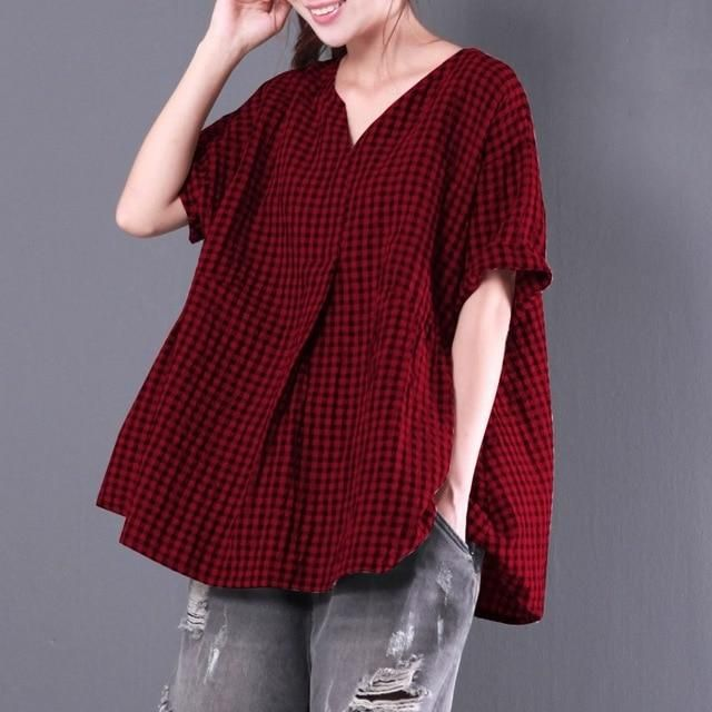 110c17ba2c46b ZANZEA Women Summer Flouncing V Neck Short Sleeve Loose Pleated Party Blouse  Baggy Check Plaid Cotton Linen Oversized Top Shirt-JetSet-JetSet
