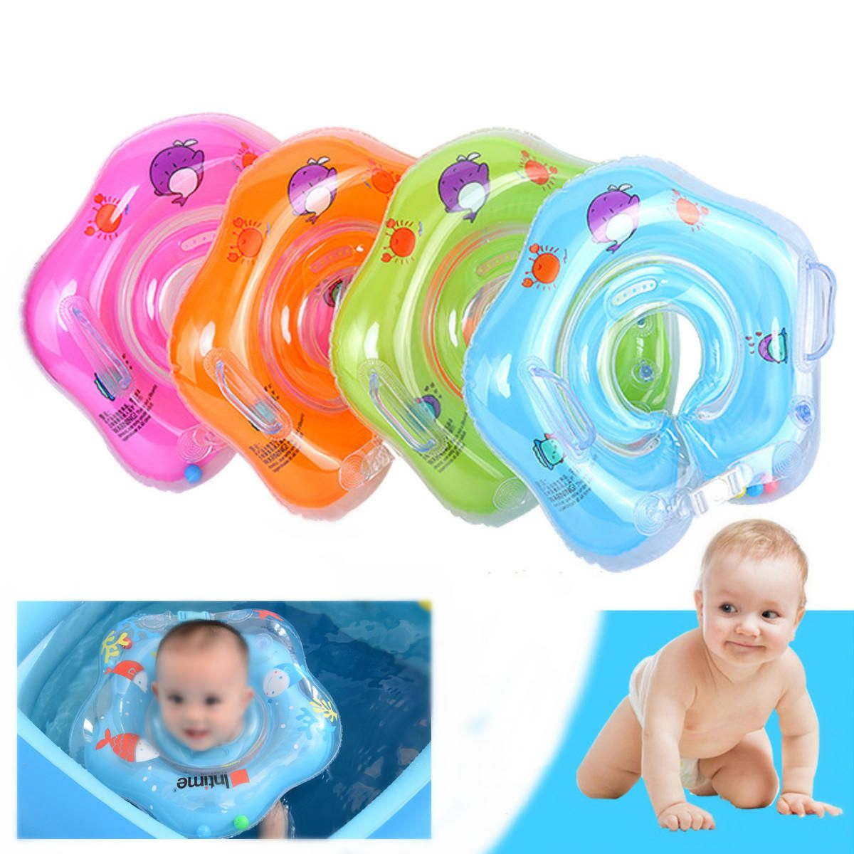 IPRee™ Inflatable Baby Infant Swimming Neck Float Ring Newborn Bath ...