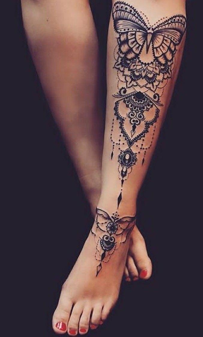 Photo of butterfly leg tattoo