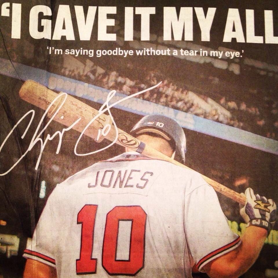 I Gave It My All Chipper Jones Chipper Jones Braves Baseball Atlanta Braves
